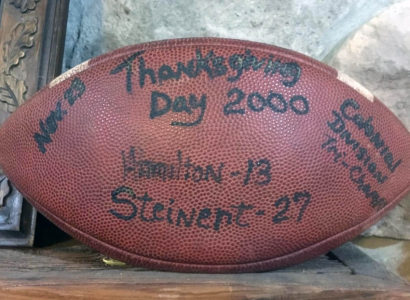 Game ball from the last Steinert home win on Thanksgiving in 2000.