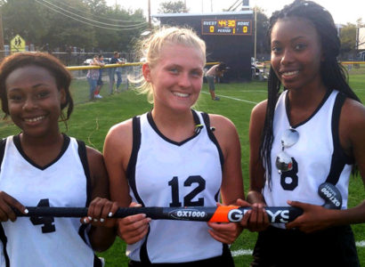 : It was a happy gang of scorers as (from left) Nicole Obiukwu, Shelby South and Malouka Gauthier tallied Hamilton's first three goals of the season in a 3-0 win over Nottingham Monday (Photo by Rich Fisher)