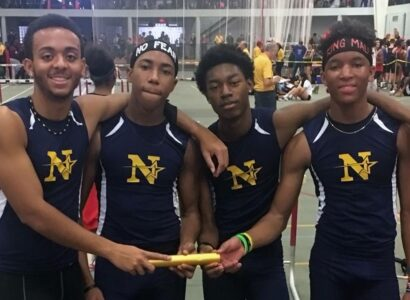The Nottingham 4x400 team of Kernley Charles, Jalen Corbin, Emilio Selesnick and Shamali Whittle took a gold medal at the Lavino Relays and set a school record in the process.